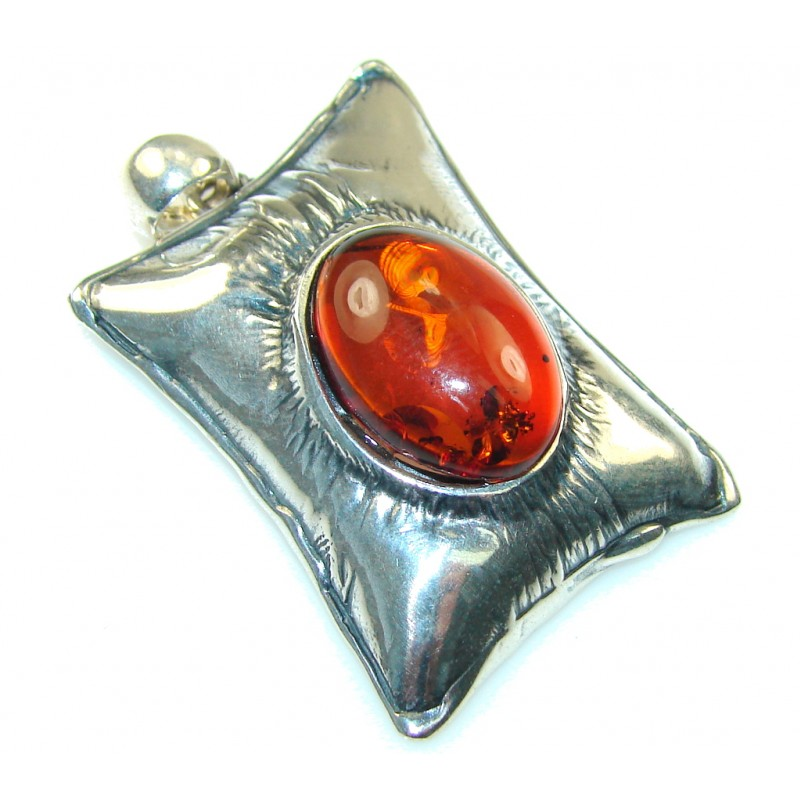 Beautiful Brown Polish Amber Sterling Silver Pendant