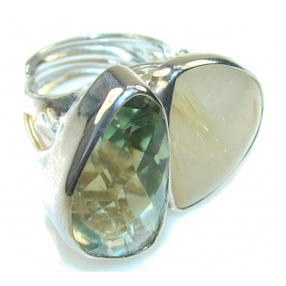 Perfect Green Amethyst Sterling Silver ring s. 7 - Adjustable