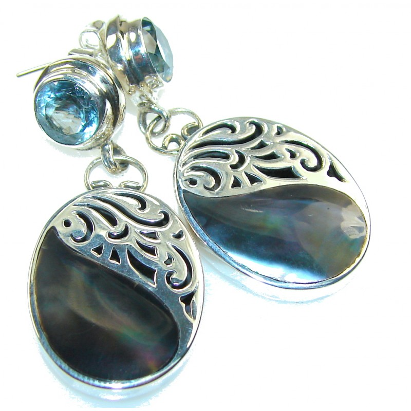 Amazing Design!! Rainbow Abalone Sterling Silver earrings