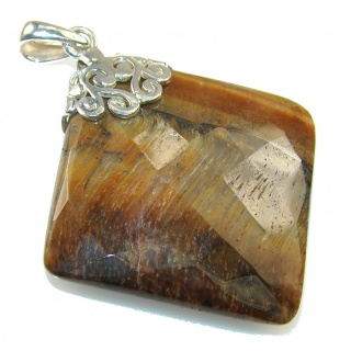 Amazing Golden Tigers Eye Sterling Silver Pendant