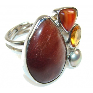 Excellent Red Jasper Sterling Silver ring s. 8 - Adjustable