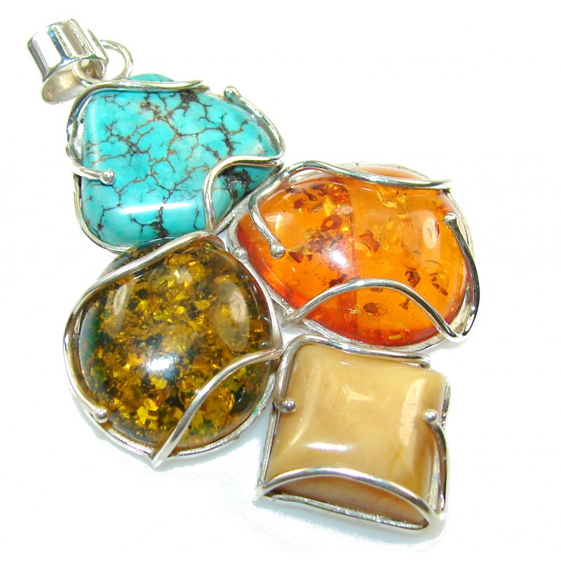 World Of Beauty!! Polish Amber Sterling Silver Pendant