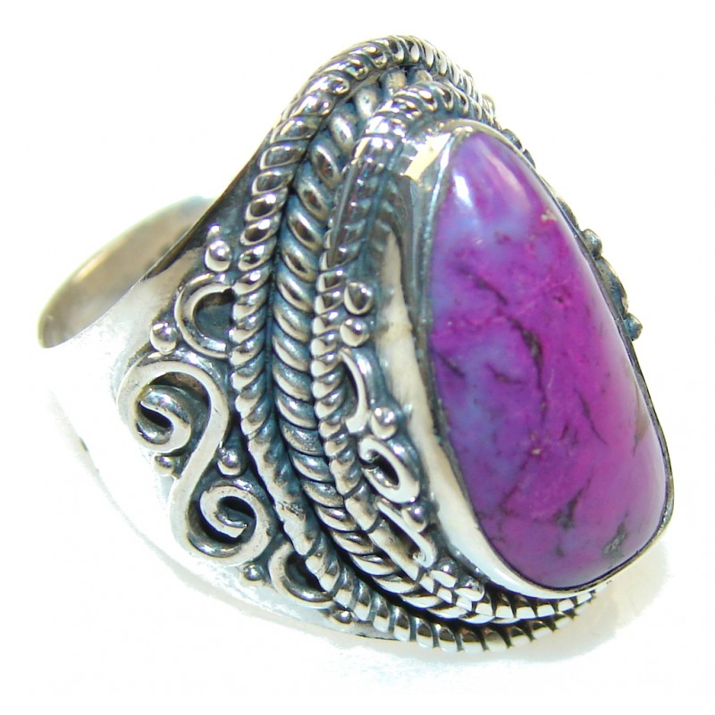 Stylish Purple Turquoise Sterling Silver Ring s. 7 1/4