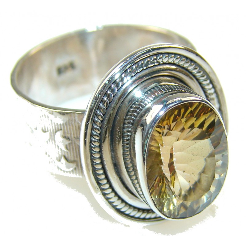 Amazing Color Changing Citrine Quartz Sterling Silver Ring s. 9 1/4