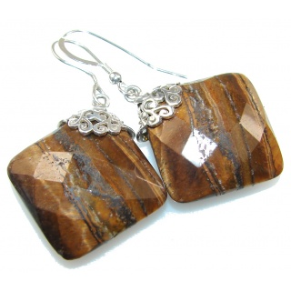 Secret Brown Tigers Eye Sterling Silver earrings