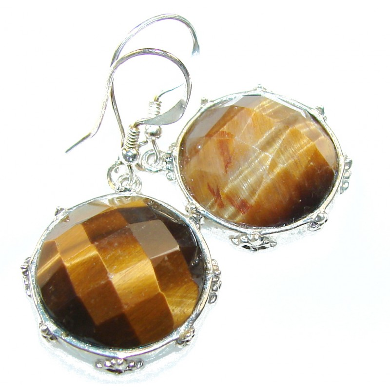 Natural Brown Tigers Eye Sterling Silver earrings