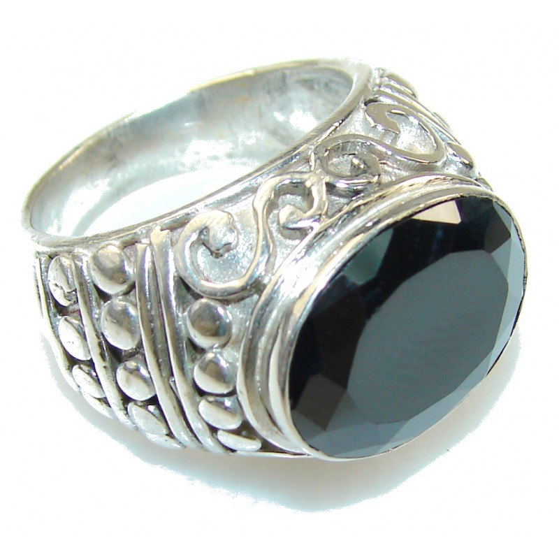Excellent Design!! Hematite Sterling Silver Ring s. 8