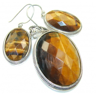 Beautiful Brown Tigers Eye Sterling Silver earrings / Set