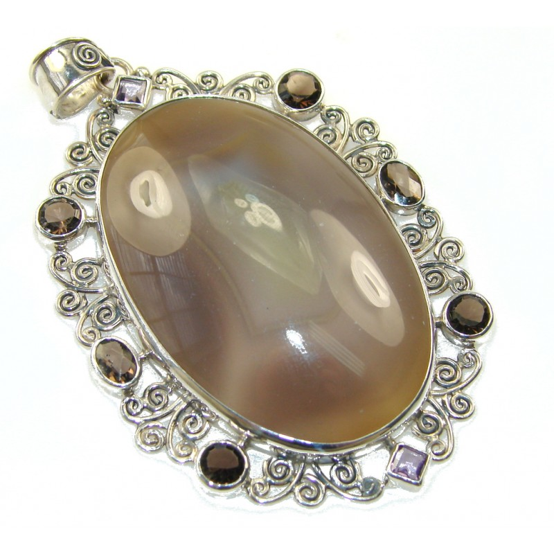 Big!New Fabulous Design!! Agate Sterling Silver Pendant