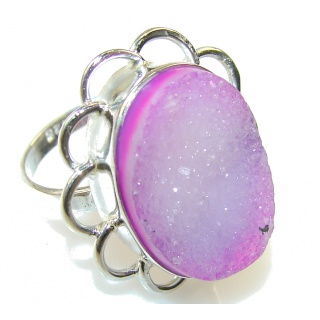 Excellent Pink Agate Druzy Sterling Silver Ring s. 6 1/2
