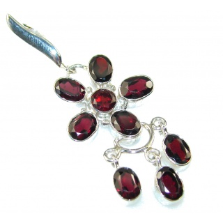 Amazing Created Red Garnet Sterling Silver Pendant