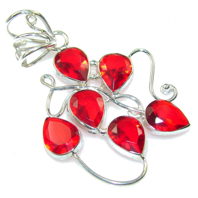 Lovely Red Quartz Sterling Silver Pendant