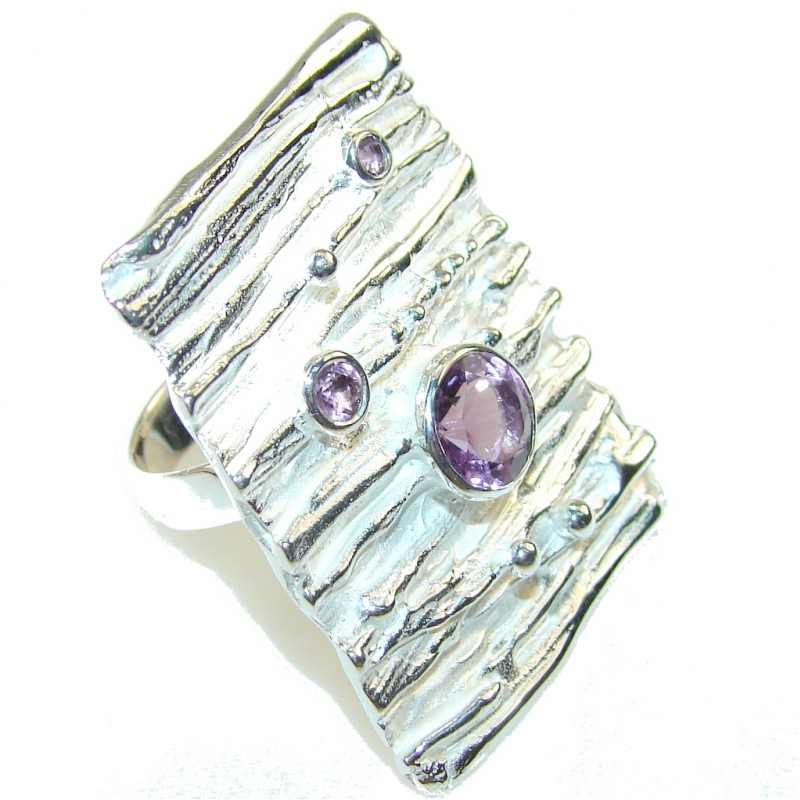 Big!! Italy Made! Purple Amethyst Sterling Silver ring s. 8