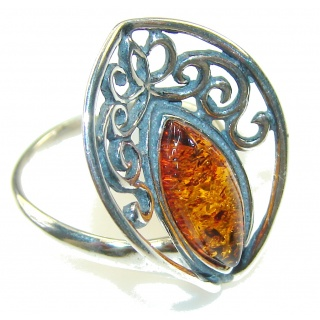 Delicate Brown Polish Amber Sterling Silver Ring s. 6 1/2