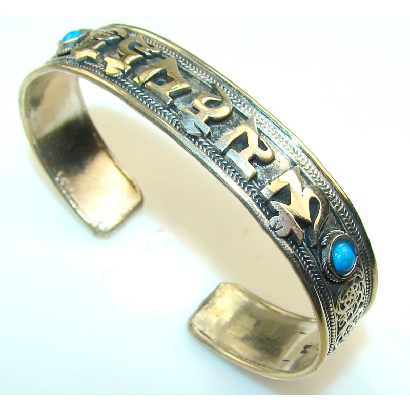 Excellent Blue Turquoiuse Silver Plated Bracelet / Cuff