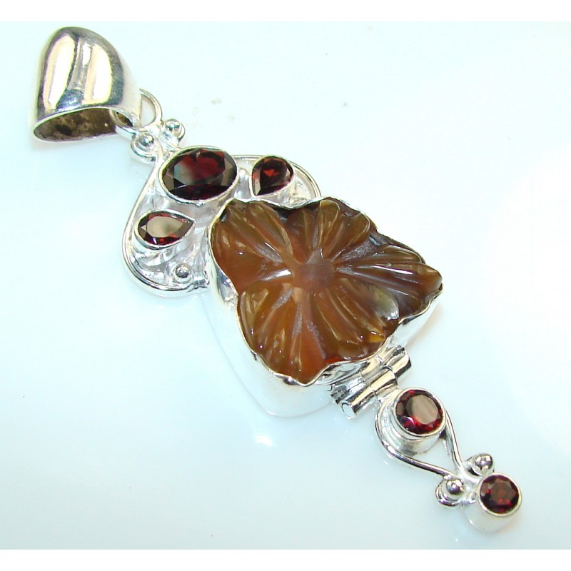 Stylish Brown Agate Silver Plated pendant