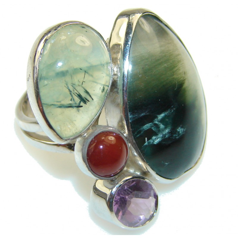 New Design Green Moss Prehnite Sterling Silver Ring s. 7 1/4 - Adjustable