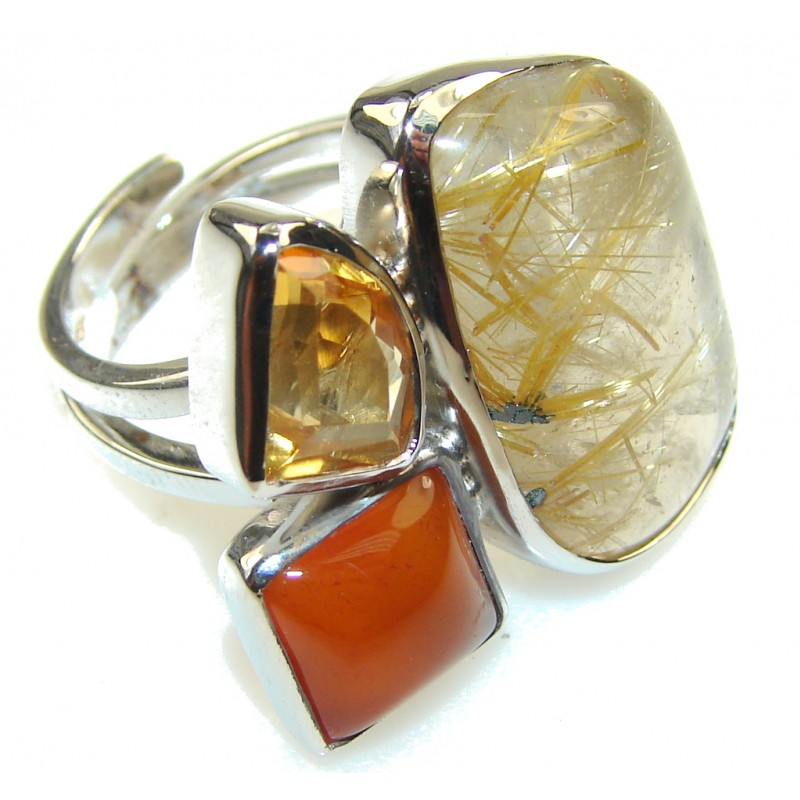Fabulous Golden Rutilated Quartz Sterling Silver ring s. 7 - Adjustable