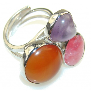 Excellent DEsign Carnelian Sterling Silver ring s. 7 - Adjustable