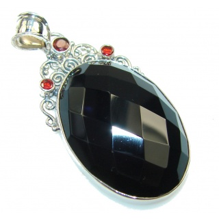 Natural Black Onyx Sterling Silver Pendant