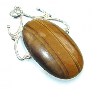Fabulous Brown Tigers Eye Sterling Silver Pendant