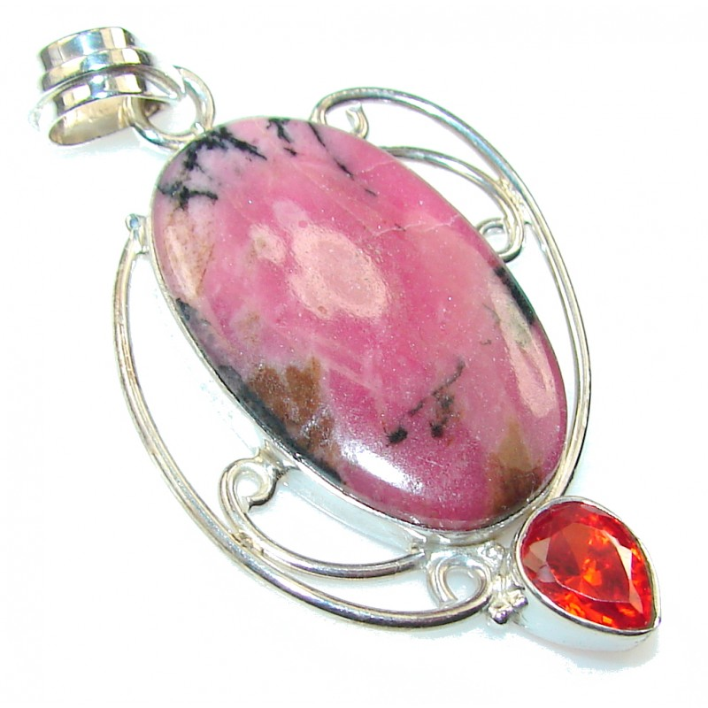 Amazing Color Of Rhodonite Sterling Silver Pendant