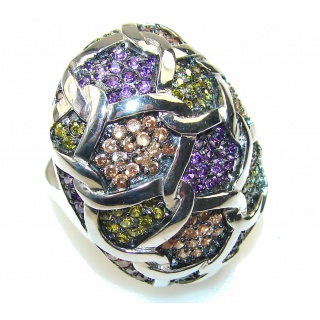 Aura Of Beauty! Multigem Sterling Silver Ring s. 6 1/2