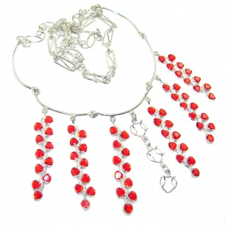 Love's Light!! Red Quartz Sterling Silver necklace