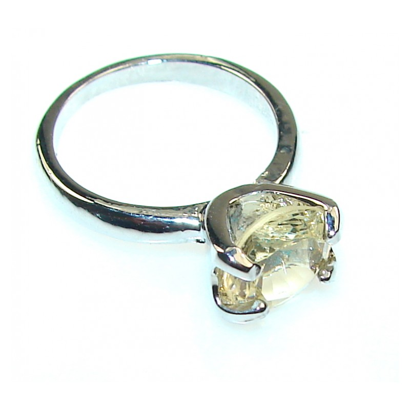 Delicate Citrine Quartz Silver plated Ring s. 8 1/4