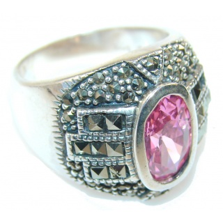 Fabulous Pink Topaz Sterling Silver ring; size 8