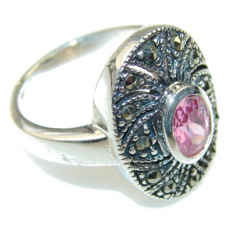 Delicate Pink Topaz Sterling Silver ring; size 7