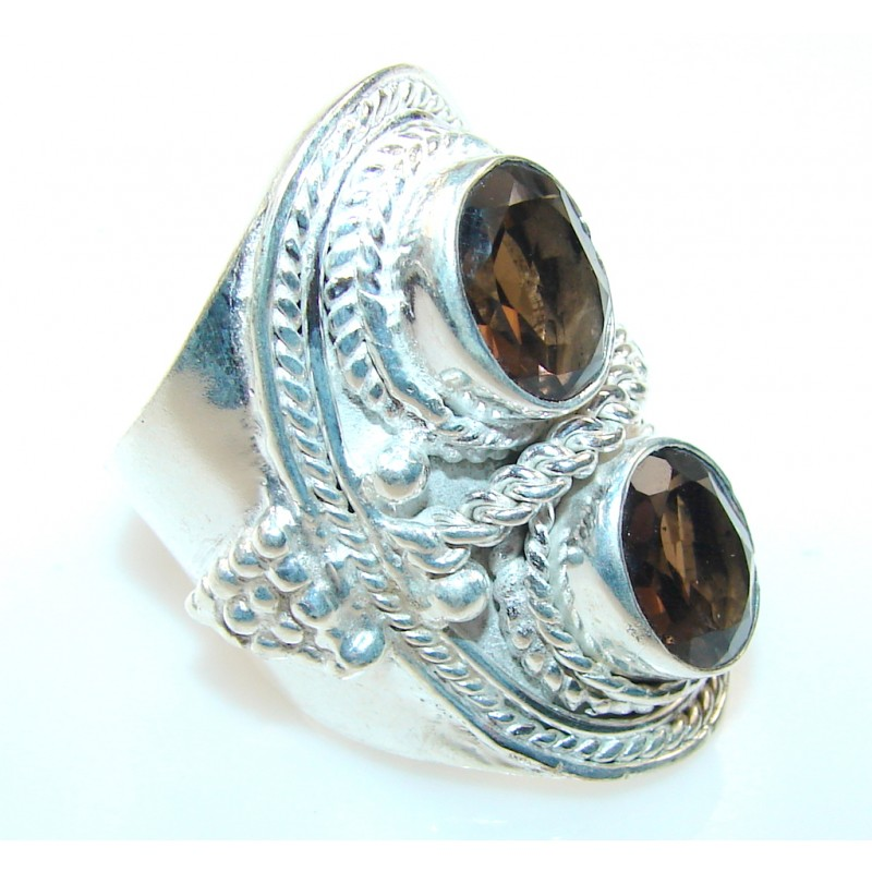 Stylish Smoky Topaz Silver Plated ring; s. 8
