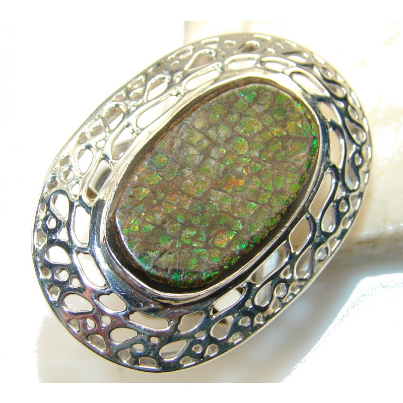 Big! Fabulous Green Ammolite Sterling Silver ring s. 11