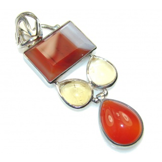 Stylish Brown Agate Sterling Silver pendant