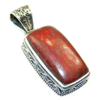 Excellent Red Sonora Jasper Sterling Silver Pendant