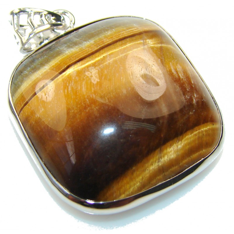 Marvelous Golden Tigers Eye Sterling Silver Pendant