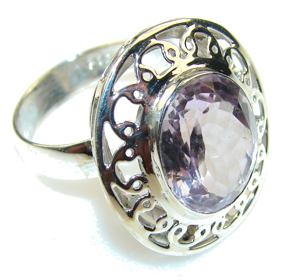 sweet light pink amethyst sterling silver ring size 9 8
