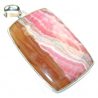 Natural Rhodochrosite Sterling Silver Pendant