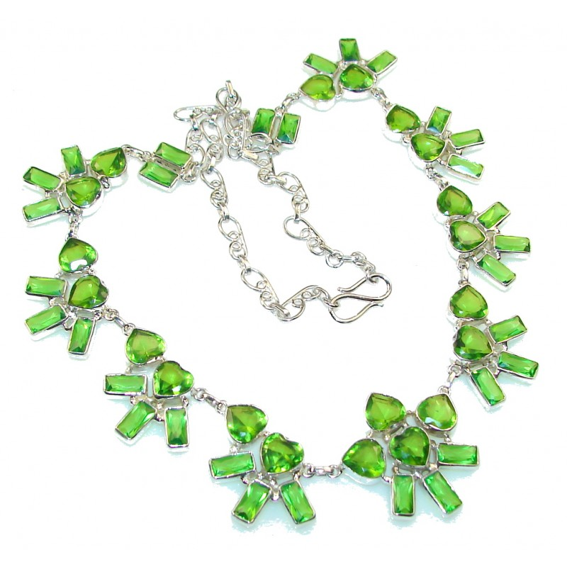 Fabulous Created Green Peridot Sterling Silver Necklace