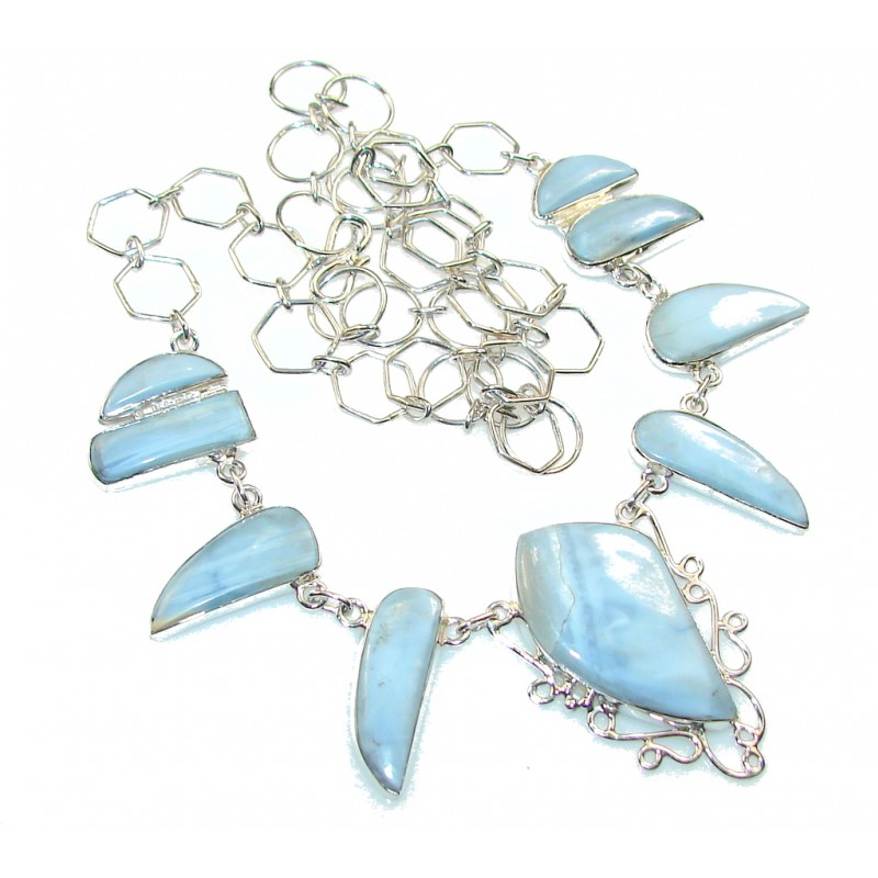 Passion Blue Lace Agate Sterling Silver necklace