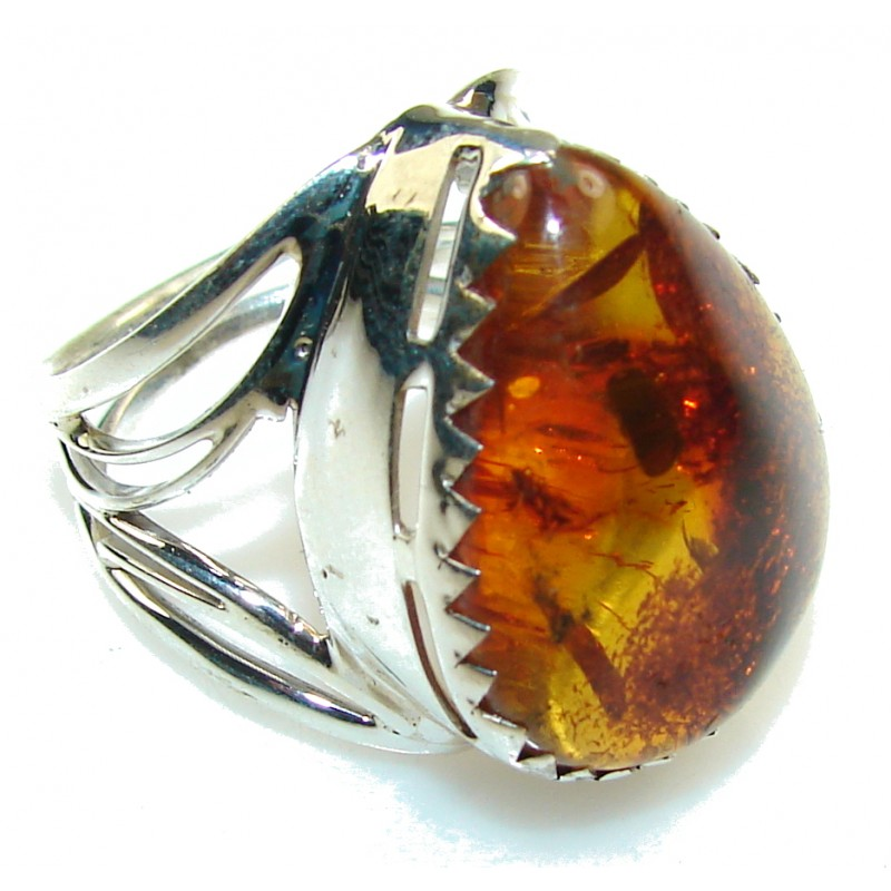 Natural Brown Amber Sterling Silver Ring s. 9