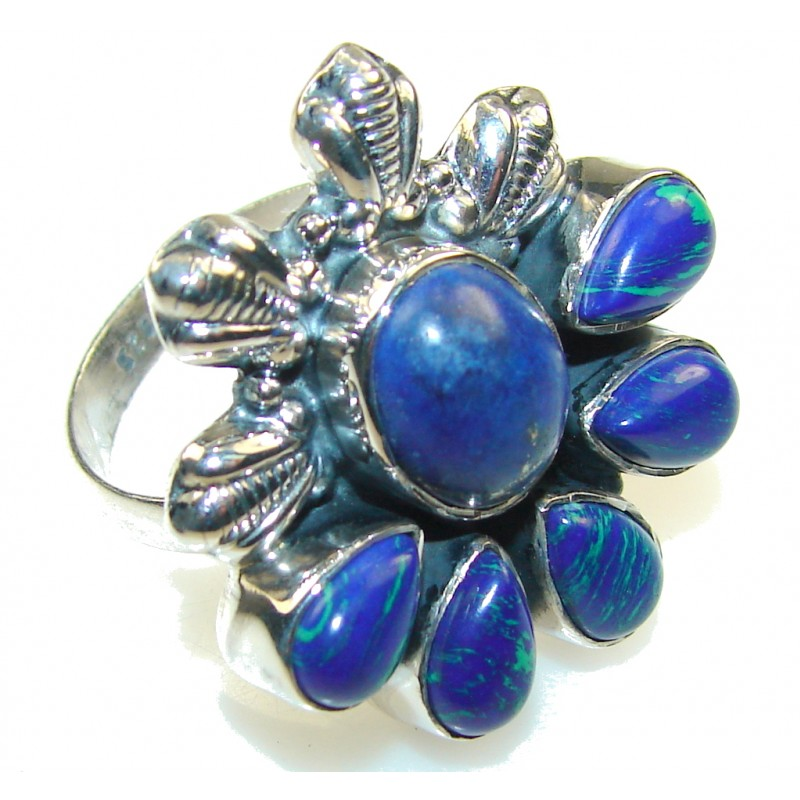 New Design!! Amazing Azurite Sterling Silver Ring s. 9
