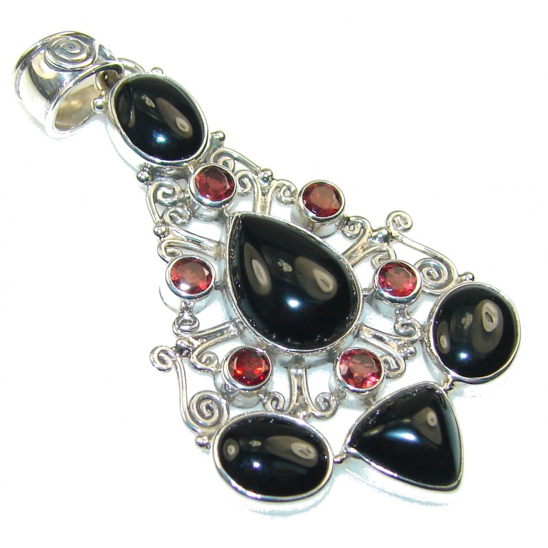 Perfect Black Onyx Sterling Silver Pendant