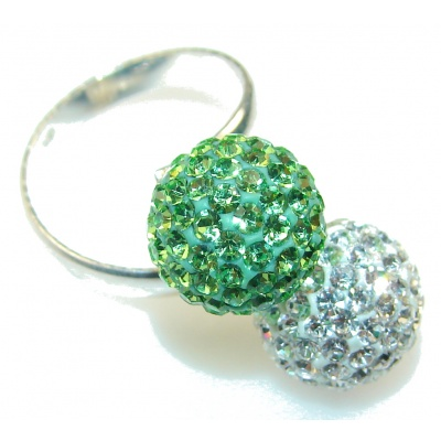 Stylish Green & White Quartz Sterling Silver ring s. Adjustable