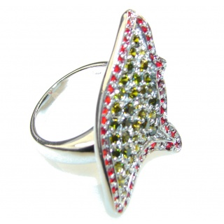 Stylish Multicolor Quartz Sterling Silver ring s. 8 1/4