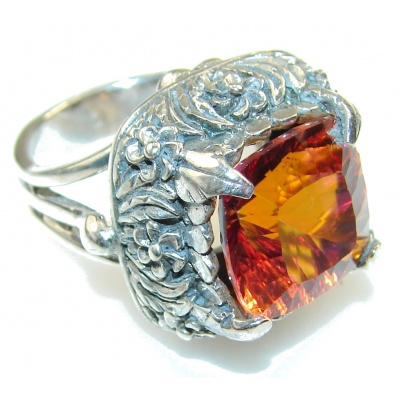 Lovely Red Mystic Topaz Sterling Silver ring; s. 6