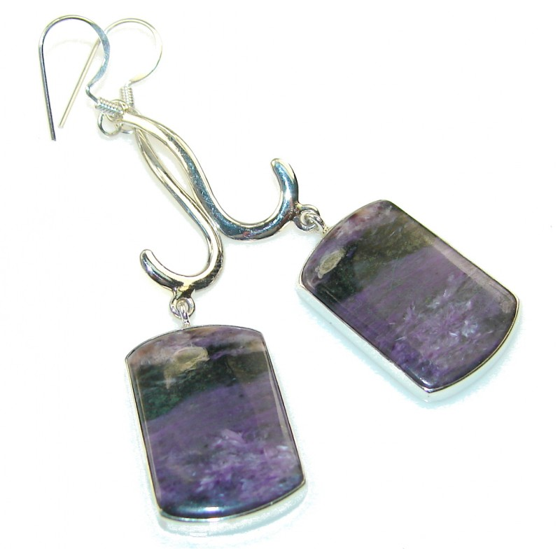 Fantastic Purple Charoite Sterling Silver earrings