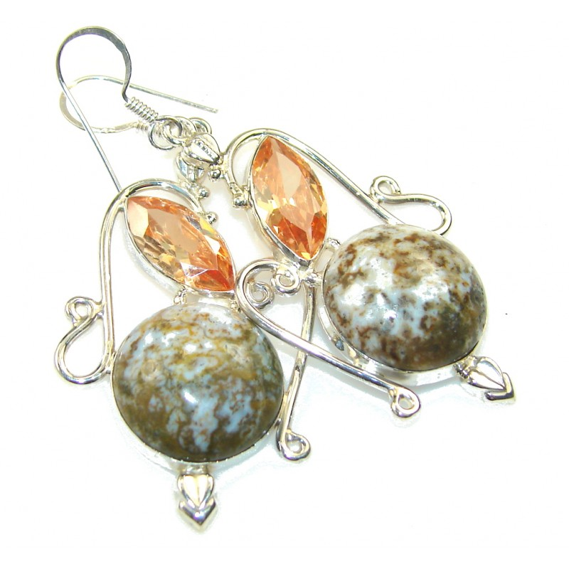 New Trendy!! Ocean Jasper Sterling Silver earrings