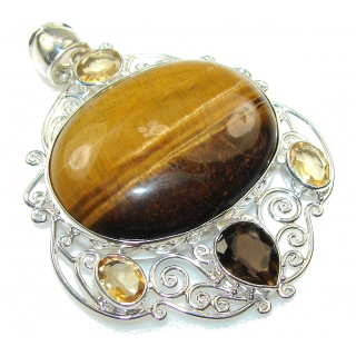 Natural Beauty!! Tigers Eye Sterling Silver Pendant