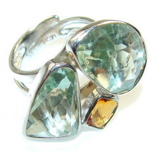 Green Ivy!! Green Amethyst Sterling Silver ring s. 7 - Adjustable
